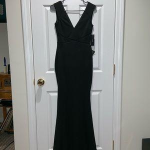 Floor length black dress